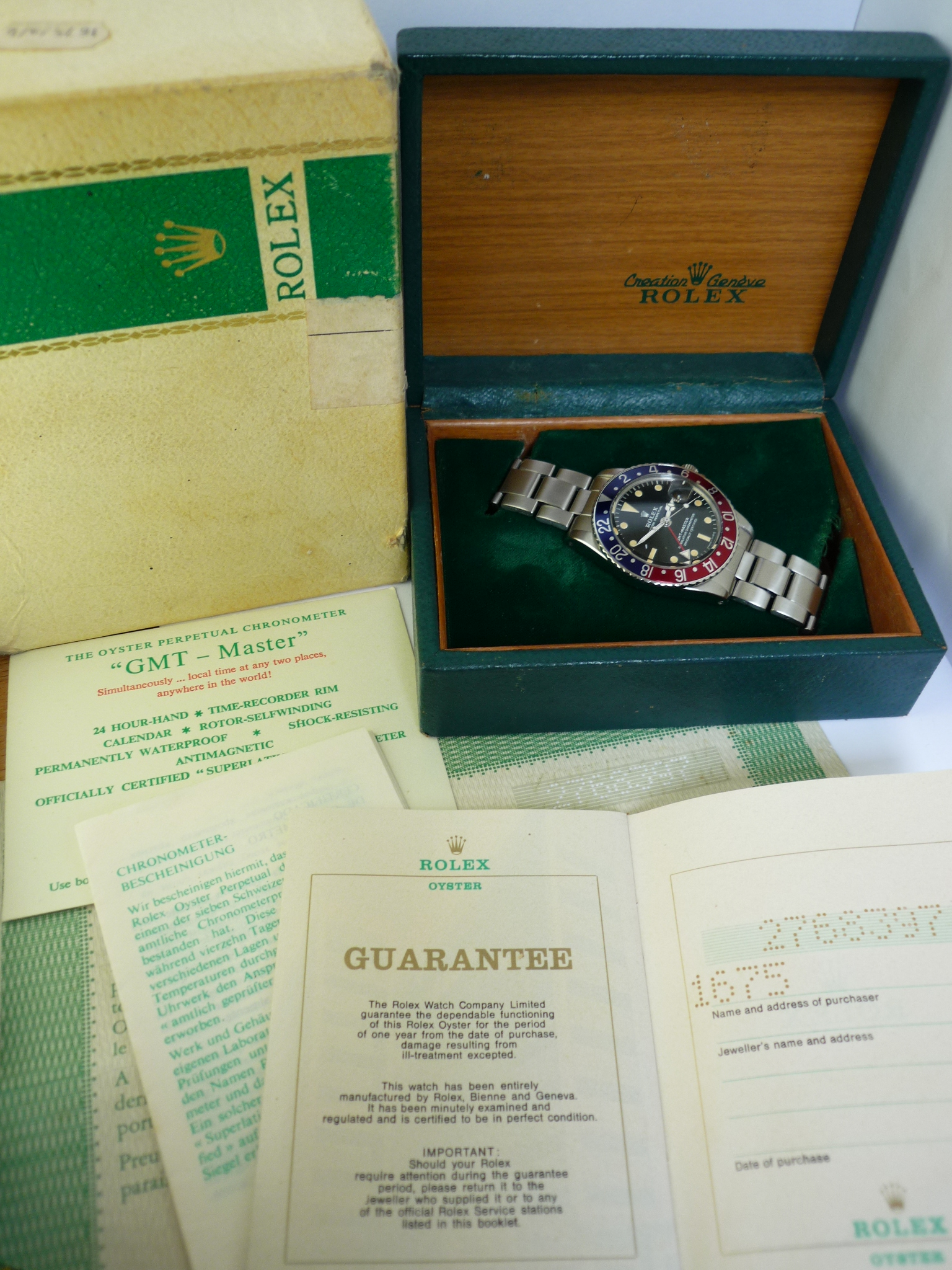 Rolex GMT Master 1675 Box and papers (1970)