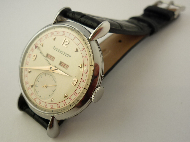 Vintage Jaeger-LeCoultre stainless steel Triple Date Watch (late 1940's)