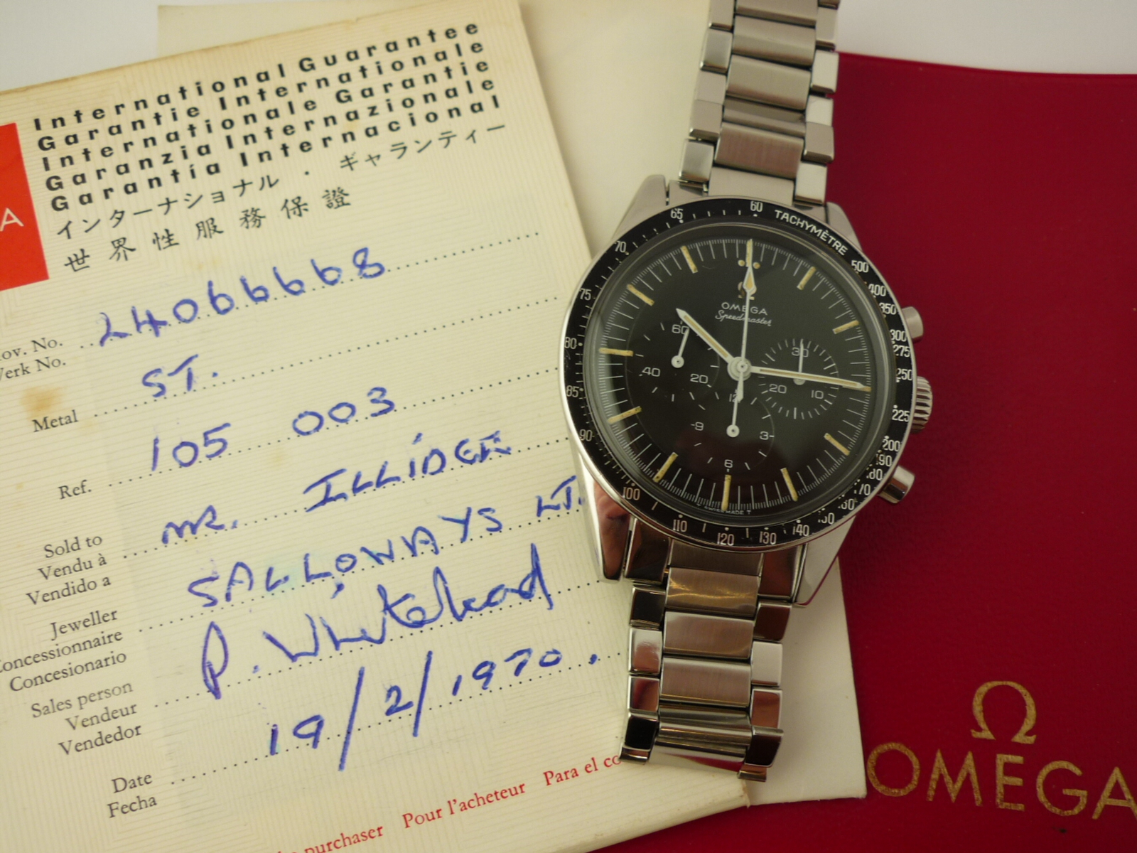 Omega Speedmaster ref 105-003 (1965) Box and Papers