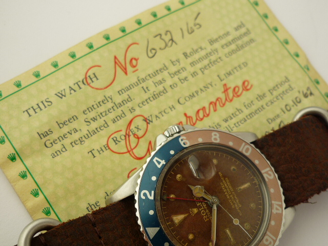 Rolex GMT Master 1675 Pointed Crown Guard Gloss Gilt Dial (1961)