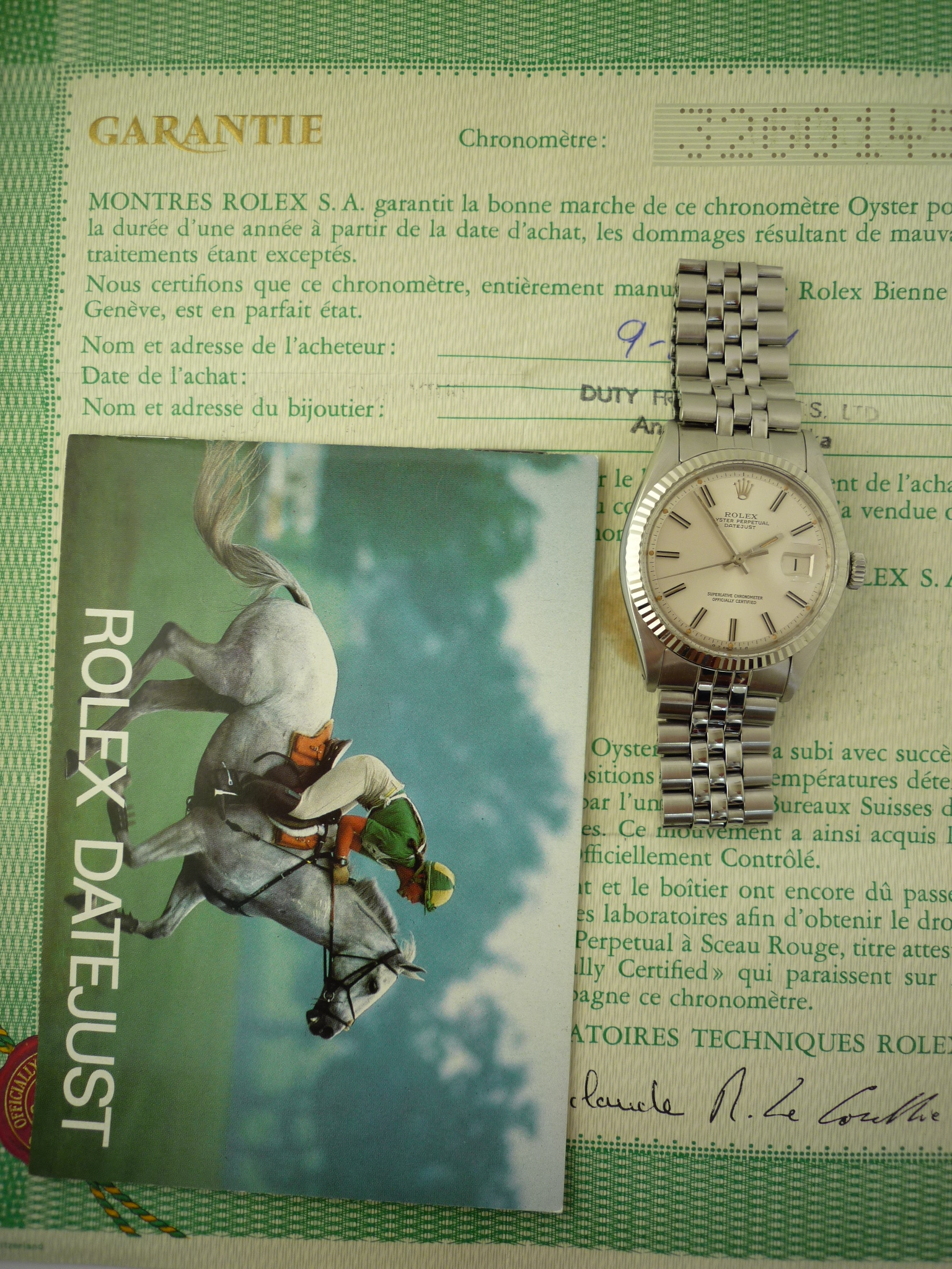 Rolex Oyster Perpetual DateJust watch ref 1601 (1974) Box & Papers