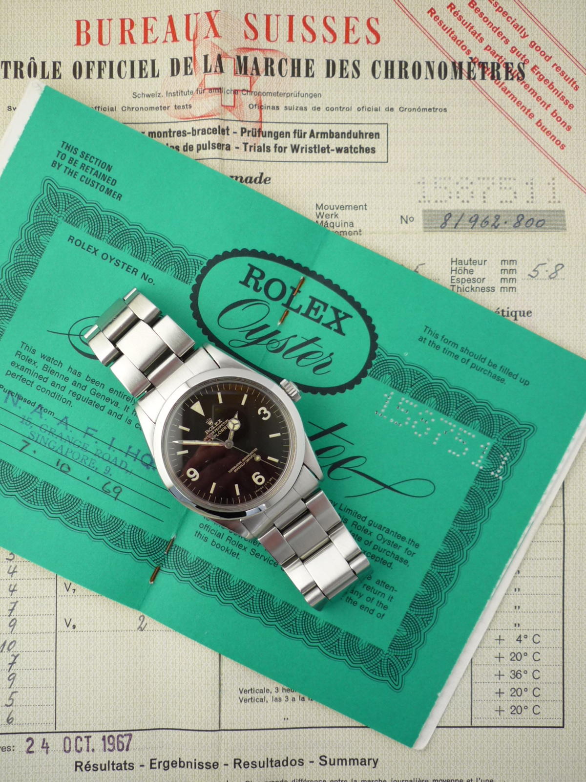 Rolex Explorer gilt dial watch ref 1016 Box and Papers (1967)