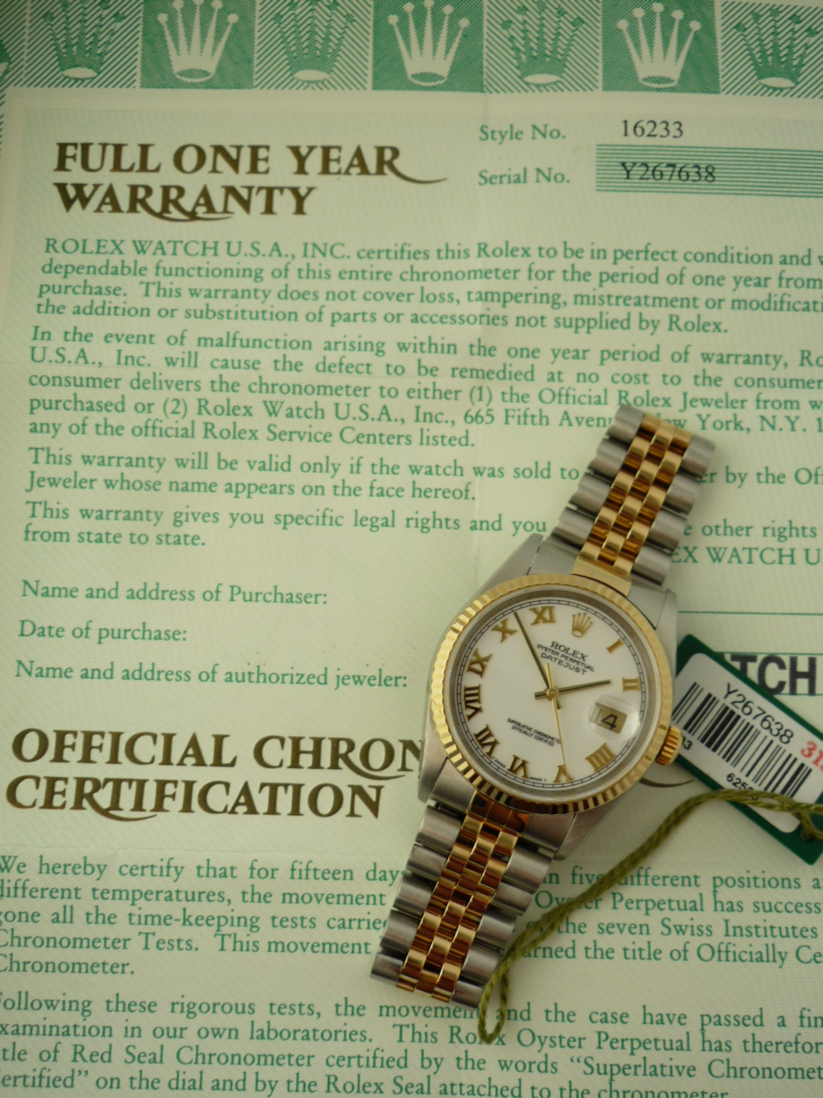 Rolex Oyster Perpetual watch ref 16233 (2002)