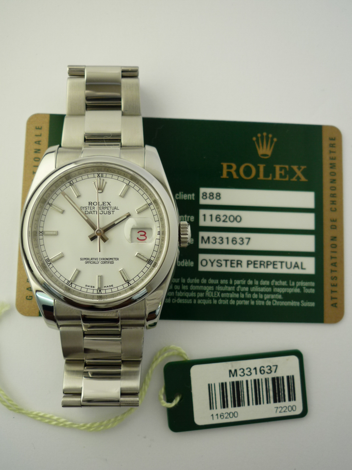 Rolex Oyster Perpetual dateJust watch ref 116200 white dial (2007)
