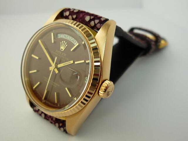 Rolex Oyster Perpetual Stella Oxblood Enamel Dial Day-Date Watch ref 1803 (1974)