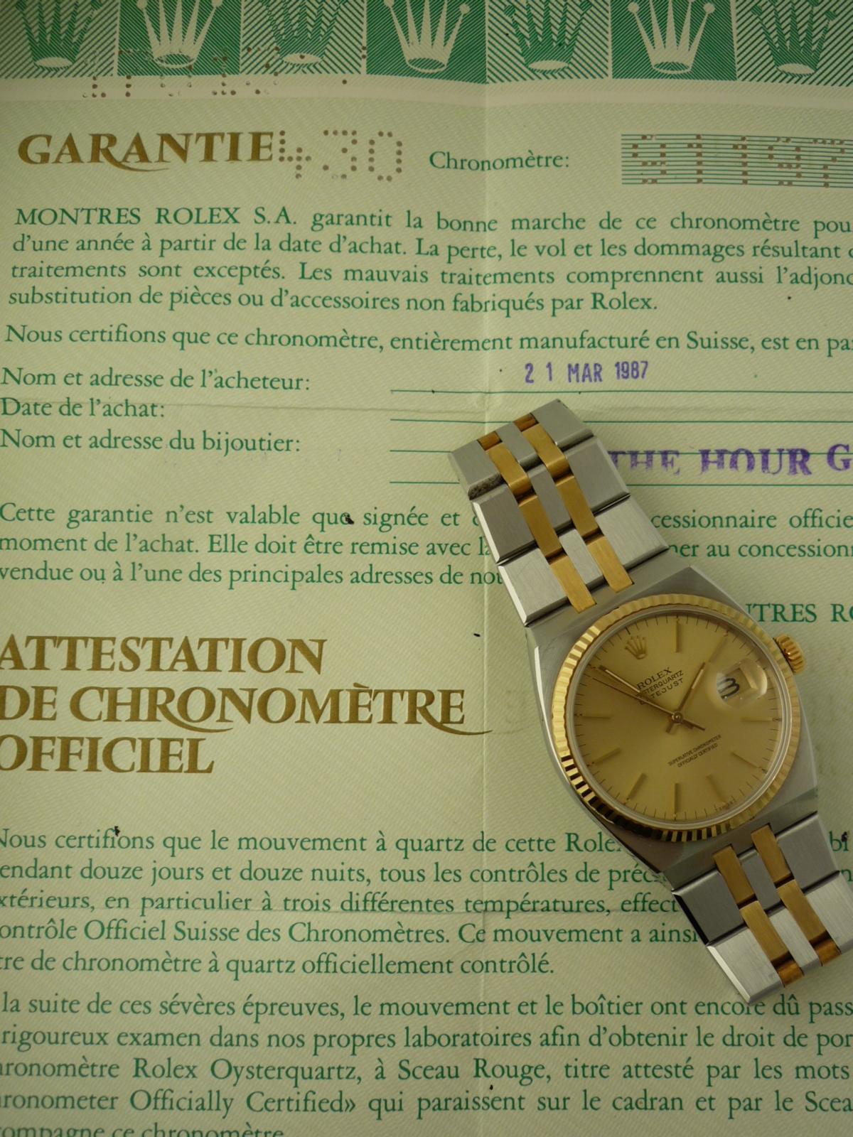 Vintage Rolex OysterQuartz DateJust Watch ref 17013 (1986) + Papers