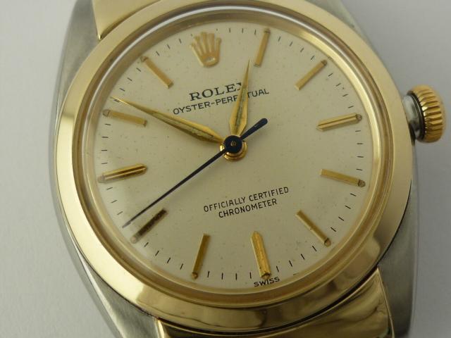 Rolex 18ct Gold Steel Bubble Back Hooded Watch 1954