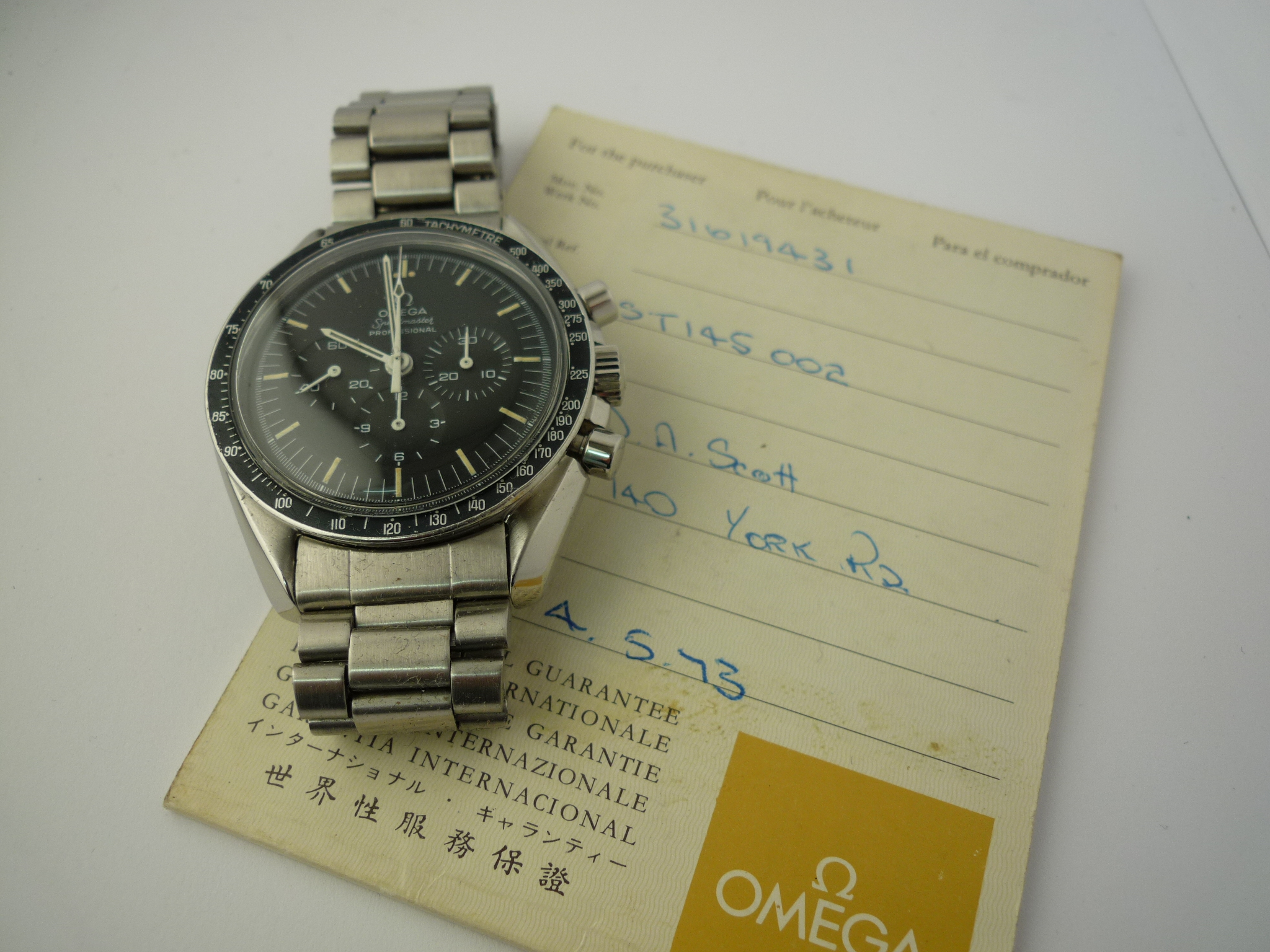 Omega Speedmaster Moonwatch ref 145-022 (1969) B & P