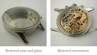 <p>&nbsp;Restored case and glass - Restored movement</p>