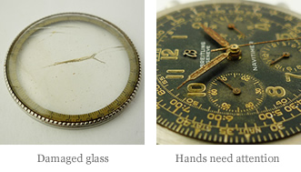 <p>&nbsp;Damaged glass - Hands need attention</p>