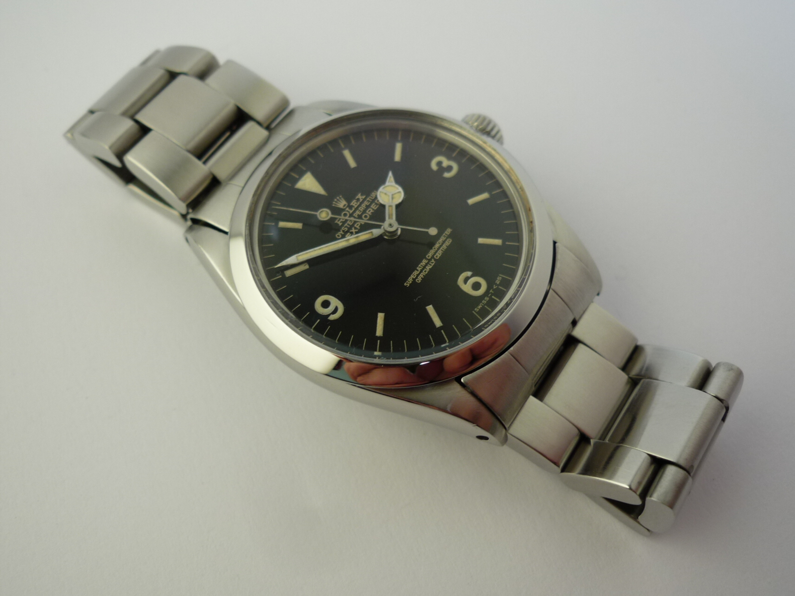 rolex explorer gilt dial watch ref 1016 box and papers  1967